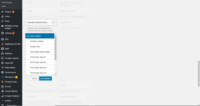 Locate the EDD Recently Viewed Downloads widget.