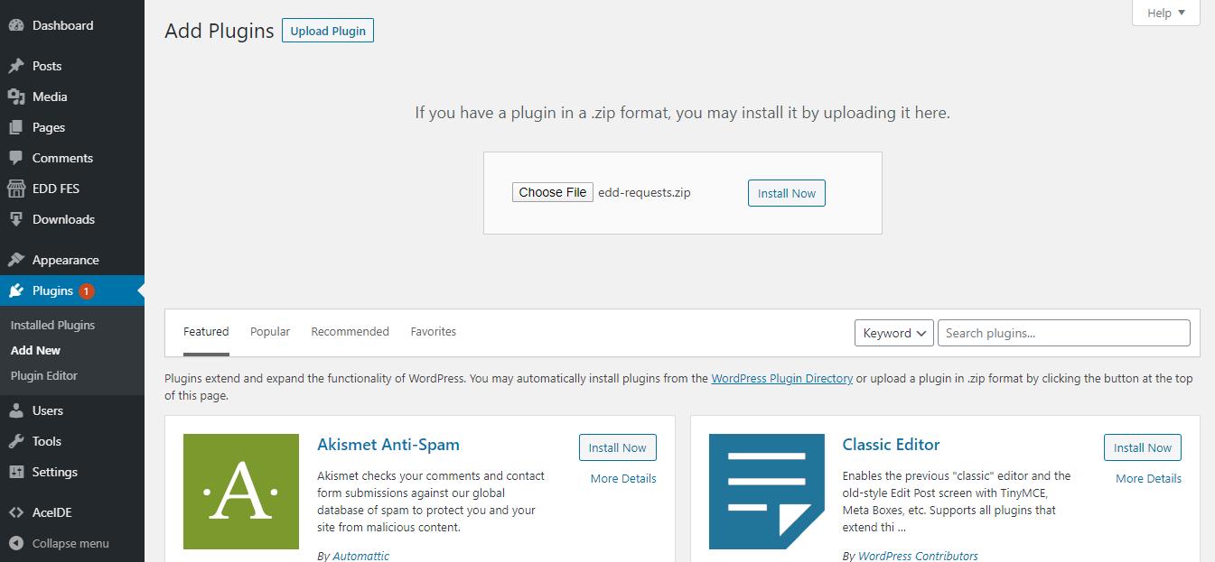 installation of EDD requests plugin