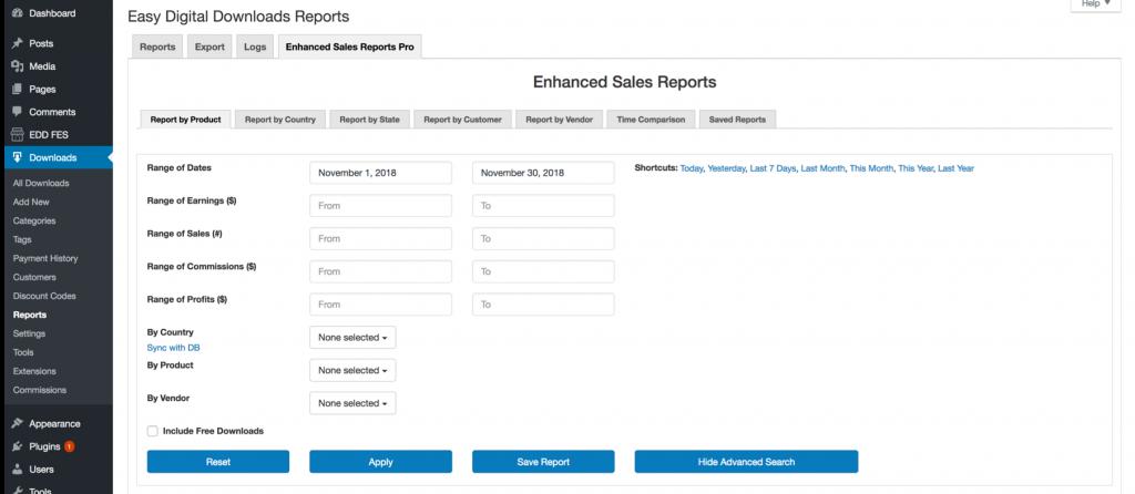 EDD Enhanced Sales Reports Pro Plugin Search Filters