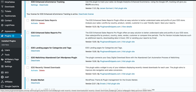 EDD Recently Viewed Downloads Plugin Activation