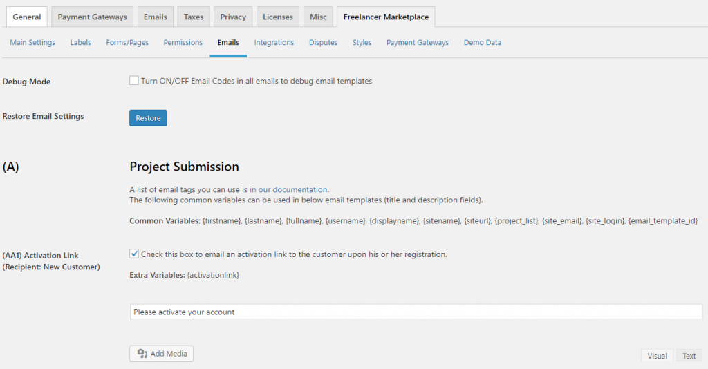 Freelancer Marketplace Plugin Emails Backend