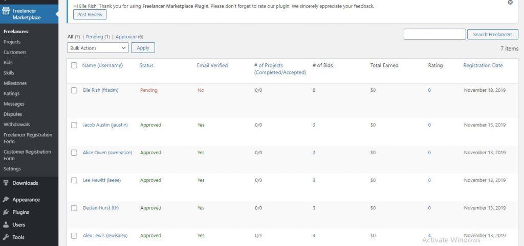 Freelancer Marketplace Plugin Freelancer List at Backend
