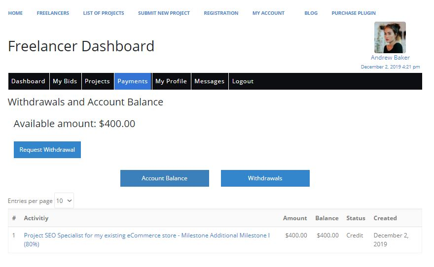 Freelancer Marketplace Plugin Freelancer Dashboard Payments Tab