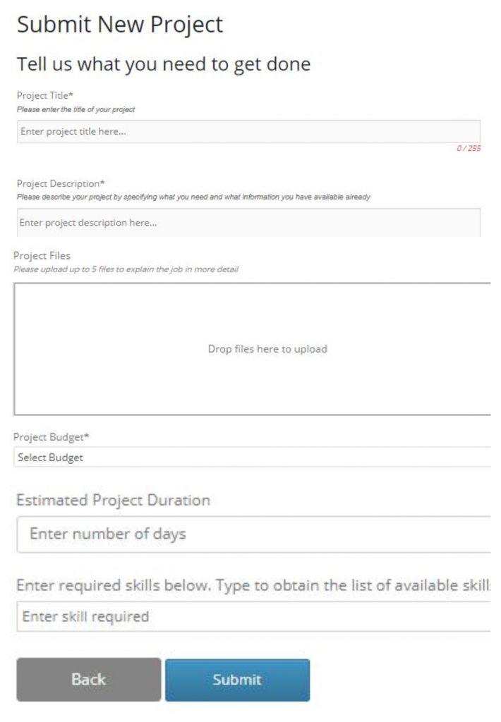 Freelancer Marketplace Plugin Submitting New Project